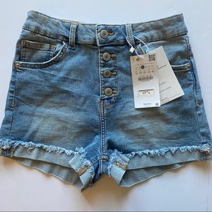 NEW Bershka Exposed Button Fly High Waist Shorts